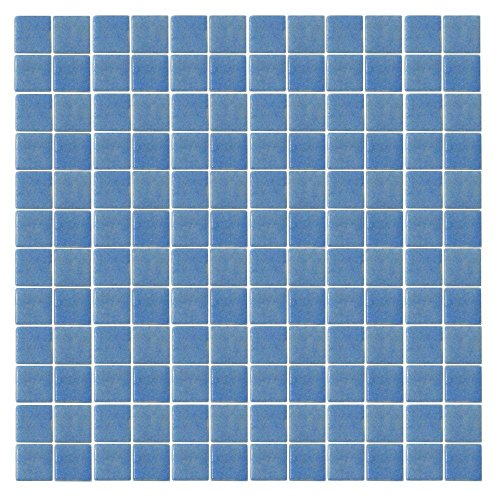 EPOCH Oceanz O-Blue-1721 Mosaic Recycled Glass Anti Slip 12 in. x 12 in. Mesh Mounted Floor & Wall Tile (5 Sq. Ft./Case)