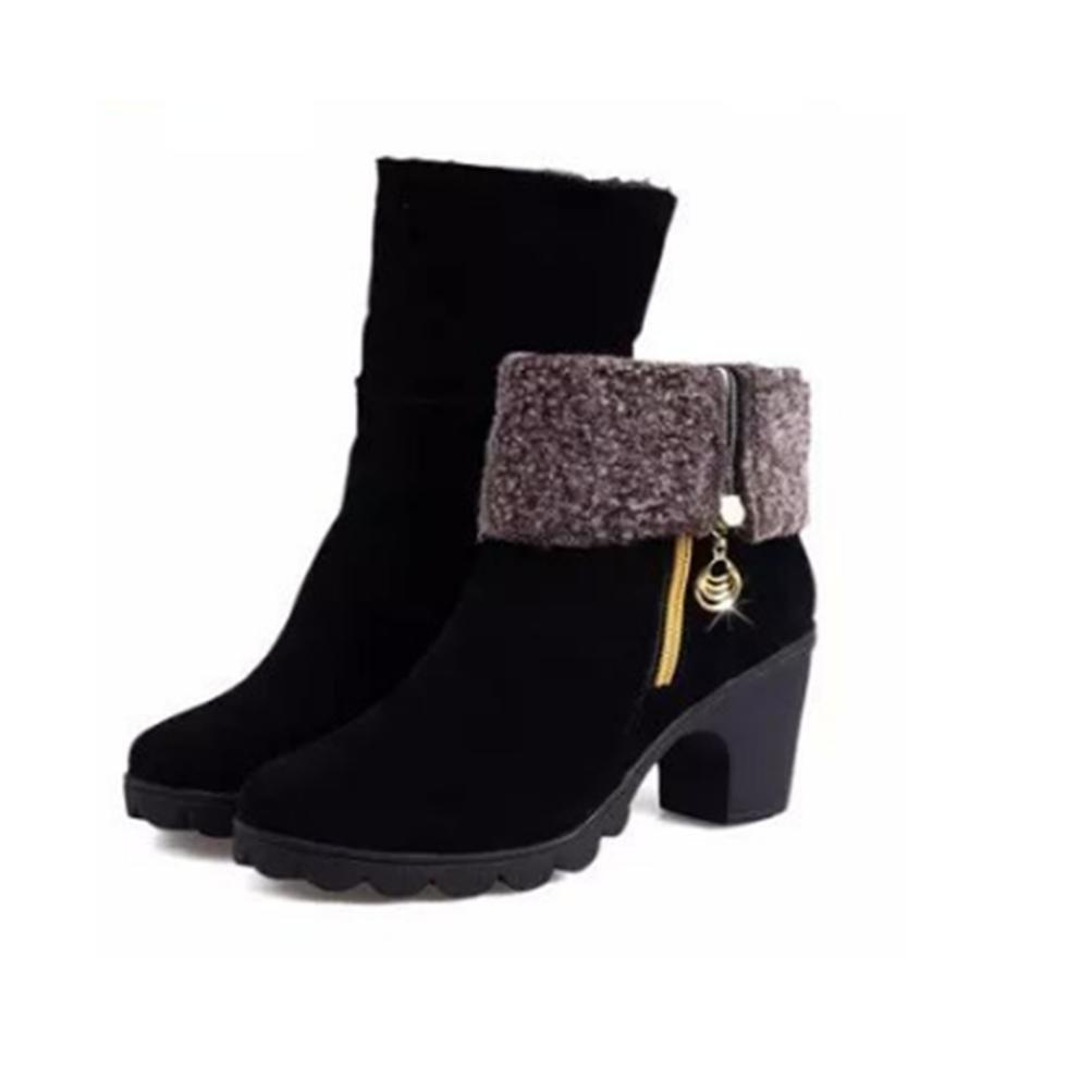 QPYC Damen hohe Schuhe Fersen Stiefel Side Pull Kette im Zylinder Stiefel zwei Verschleiß rutschfeste rau mit Plattform Damenschuhe , red cotton , 40