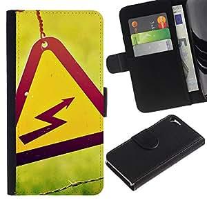 All Phone Most Case / Oferta Especial Cáscara Funda de cuero Monedero Cubierta de proteccion Caso / Wallet Case for Apple Iphone 5 / 5S // Danger High Voltage