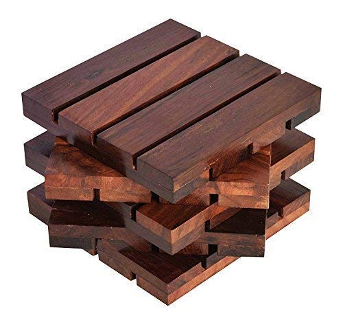 UniqueKrafts Hand-Crafted Wooden Dining Coffee Table Tea Coasters Square Cutter Set of 5 Price & Reviews