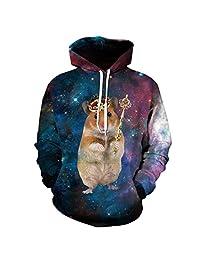 Jiayiqi Unisex Funky 3D Digital Print Pullover Hoodie Hooded Sweatshirt