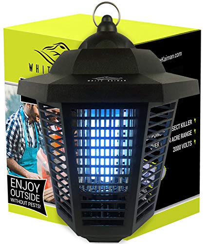 White Kaiman Electric Bug Zapper Lamp for Outdoors & Indoors - High Powered 20W UV Tube Insect Attracting Mosquito Killer ()