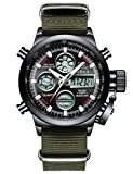 Mens Black Sports Watches Men Digital Analog Waterproof Big Face Military Army Green Nylon Wrist Watch