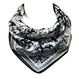 Wrapables 100% Silk Neckerchief Square Scarf, Paisley Moonstruck