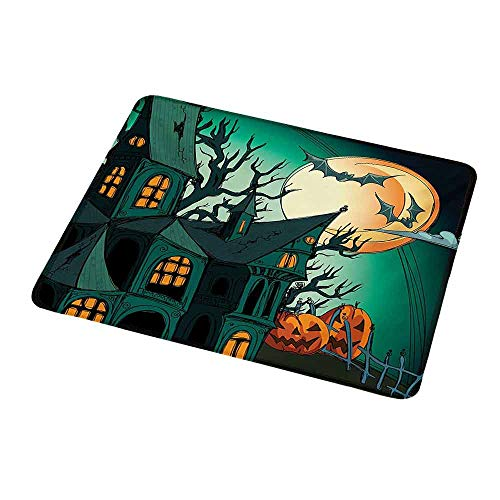 Mouse Pad Oblong Shaped Mouse Mat Halloween,Haunted Medieval Cartoon Style Bats in Twilight Gothic Fiction Spooky Art Print,Orange Teal,Non-Slip Thick Rubber Mousepad Mat -