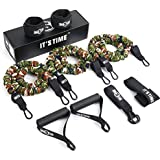 INNSTAR Resistance Bands Set Stackable Up to 210lb, 5 Levels Exercise Bands with Protective Sleeves, Door Anchor…