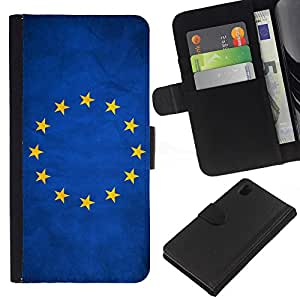 """Be-Star la tarjeta de Cr¨¦dito Slots PU Funda de cuero Monedero caso cubierta de piel Para Sony Xperia Z1 L39 ( Bandera nacional de la Serie-Uni¨®n Europea"""" )"""