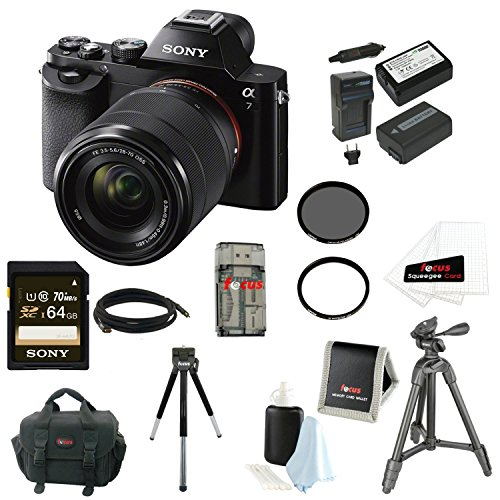 Sony Alpha a7K Interchangeable Digital Lens camera with 28-70mm f/3.5-5.6 Zoom Lens Bundle (Black)