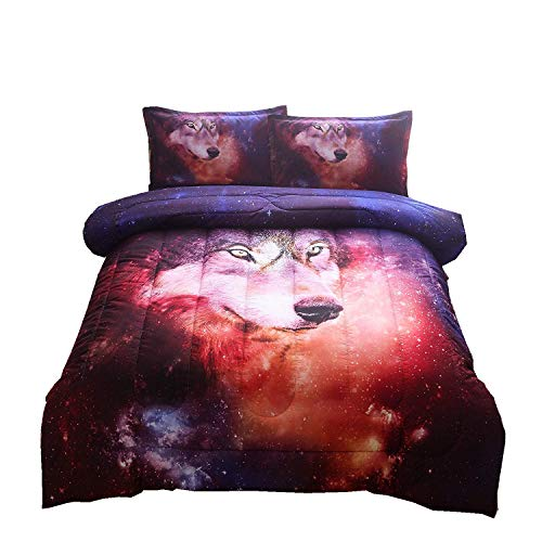 A Nice Night Galaxy Comforter Bedding Sets 3D Wolf Printed Space Quilt Set Full Size (Wolf Bedding Full Size)