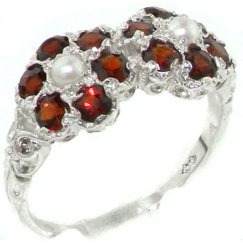 (925 Sterling Silver Cultured Pearl and Garnet Womens Cluster Ring - Size 11)