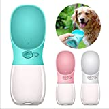 FX Dog Water Bottle Portable Antibacterial Pet Travel Water Drink Cup with Bowl Dispenser,Leak Proof,Portable,Fast and Easy - Food Grade Silicone (blue)