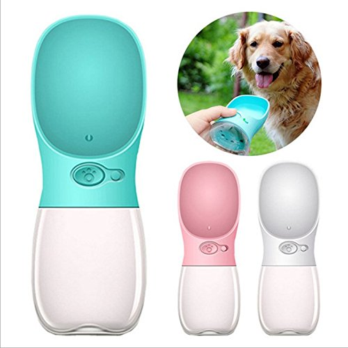FX Dog Water Bottle Portable Antibacterial Pet Travel Water Drink Cup with Bowl Dispenser,Leak Proof,Portable,Fast and Easy Food Grade Silicone (bluee)