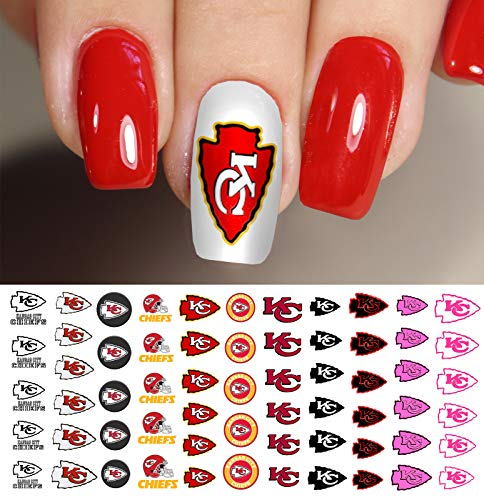 Kansas City Chiefs Football Waterslide Nail Art Decals - Salon Quality