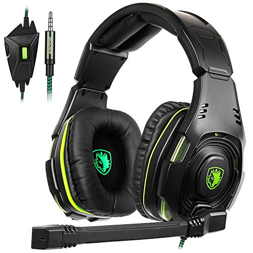 SADES SA-938 Multi-Platform Playstation 4Gaming Headset with Mic 3.5MM Jack in-LINE Volume Control Over-Ear Headphones for New PC/PS4/XboxOne/Smartphones
