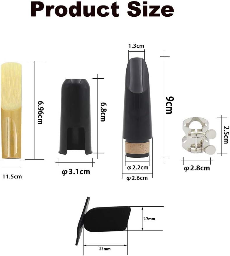 Clarinet Mouthpiece Kit Includes Ligature+Clarinet Mouthpiece Cushions+Clarinet Reed 2.5+Black Clarinet Mouthpiece Plastic Cap