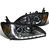 Spec-D Tuning 2LHP-CV04G-8-RS Honda Civic Ex Dx R8 Style Smoked Halo Projector Headlights