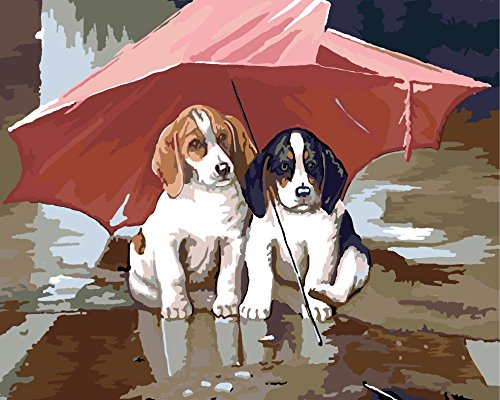Tianmai Paint by Number Kits - Wind and Rain Dog Partner Umbrella 16x20 inch Linen Canvas Paintworks - Digital Oil Painting Canvas Kits for Adults Children Kids Decorations Gifts (With Frame)