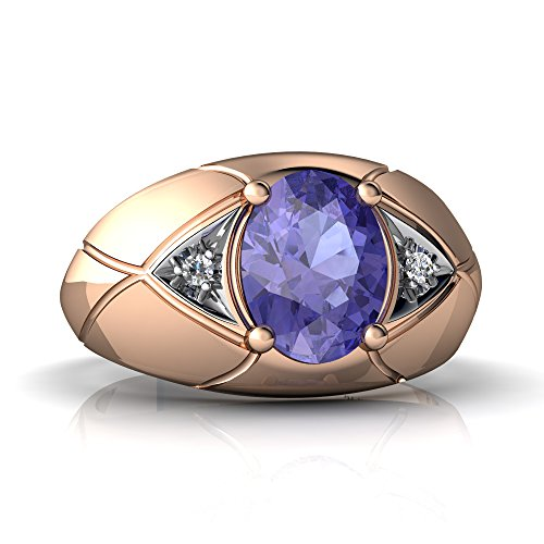 - 14K Rose Gold Tanzanite and Diamond Oval Men's Ring - Size 11.5