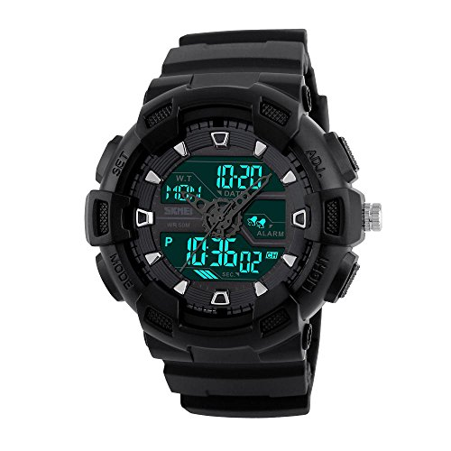 Men's Analog Digital Sports Watch Electronic LED Display Three Timezone 24H 164FT 50M Water Resistant Count Down...