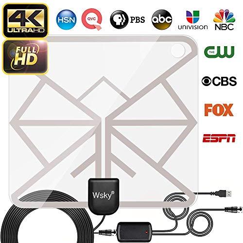 [2019 Latest] TV Antenna, Wsky HD Digital TV Antenna Long 65-100 Miles  Range - Support 4K 1080p & All Older TV's Indoor Powerful HDTV Amplifier  Signal