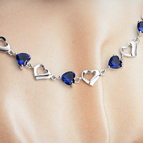EleQueen 925 Sterling Silver CZ Love Heart of Ocean Titanic Inspired Tennis Bracelet, 7.1