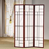 Bristol Three Panel Folding Floor Screens Room Divider in Brown Red Finish 70.25'' H x 52'' W x 0.75'' D in.