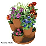 EMSCO Bloomers Stackable Flower Tower Planter - Holds up to 9 Plants - Great both Indoors and Outdoors - Terra Cotta