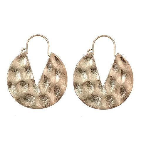 lureme Vintage Personality Hammered Round V Hoop Earrings-Antique Gold (er005220-1) - Hammered Round Hoop