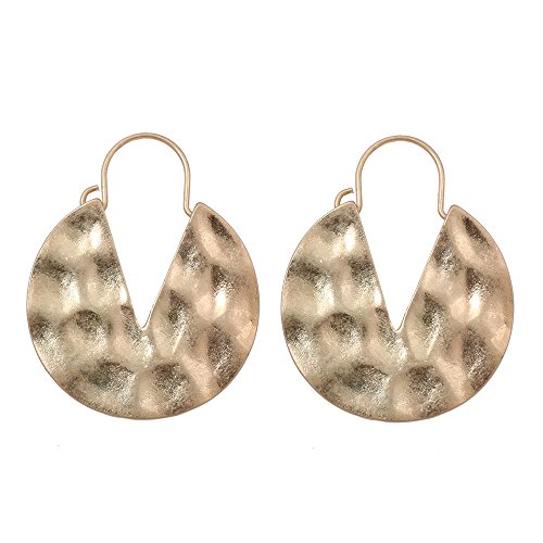 (lureme Vintage Personality Hammered Round V Hoop Earrings-Antique Gold (er005220-1))