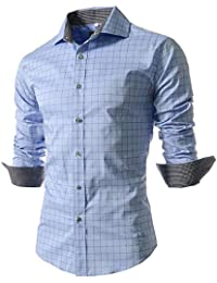 Men's Casual Long Sleeve Plaid Slim Fit Dress Shirts
