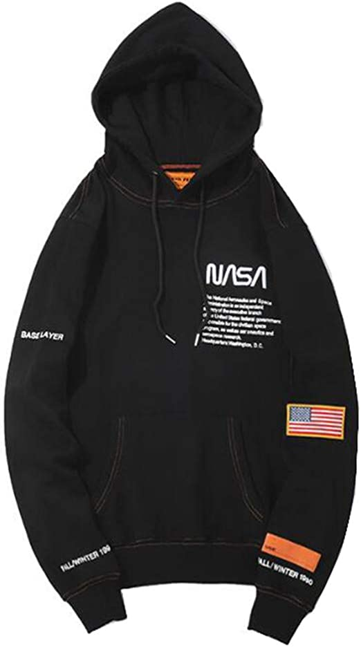 Fashion NASA Letter Print Plus Velvet Cotton Loose Pullover Hoodie Sweater for MenWomen