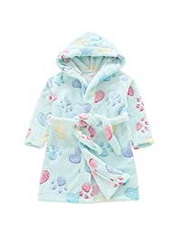 Aivtalk Baby Kids Robe Animals Printed Sleepwear Hooded Towel Flannel Bathrobe