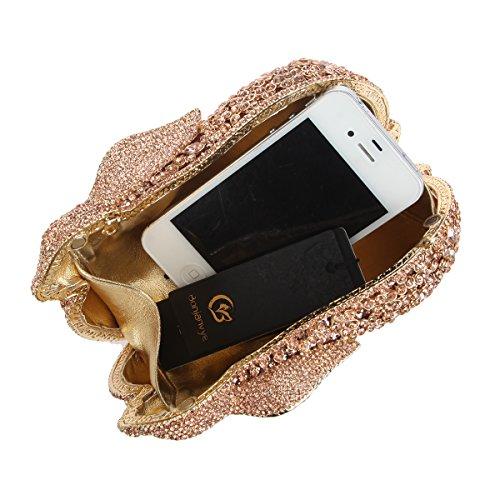 Bonjanvye Bling Rabbit Diamond Rhinestone Luxury Rose Gold Bag Clutches 3D Evening pIHrqHx