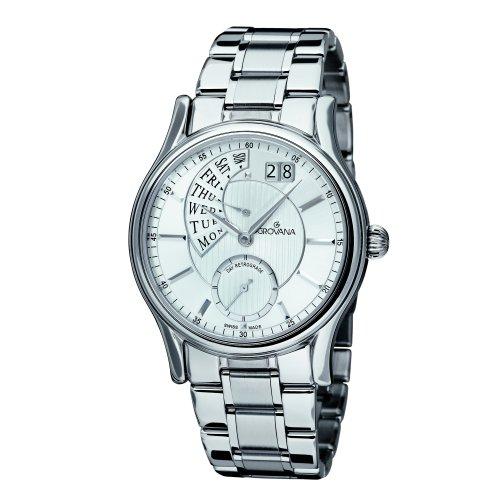Grovana Men's 1718-1132 Retrograde Analog Display Swiss Quartz Silver Watch