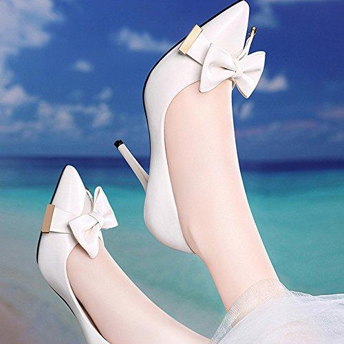 Cuir 9cm 5 Travail White 4 Cour Profession Talons Nightclub Chaussures Hauts Mode Mariage snfgoij en Femme Chaussures Chaussures de Noir Sexy UK EU Party 37 YfZwgHqS