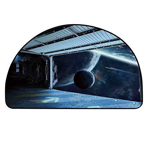 - YOLIYANA Outer Space Decor Semi Circle Mat,Moon Before Station Planet Apocalypse Landing Alternative Humanoid Robots Carpet Indoor Mat,15.7