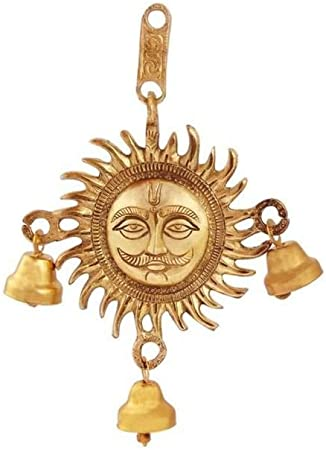 Handicrafts Paradise Sun Shaped Hanging with Bell in Metal OXM18099