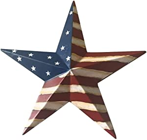 Dimensional Metal Antique Barn Star Rustic Country Primitive Wall Décor,3D Barn Star Indoor Outdoor 4th July Wall Decoration,12 inch (American Flag Star)