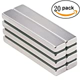 Eilin Neodymium Bar Magnet, DIY, Construction, Science, Craft and Office Strong Rare Earth Metal Neodymium Magnets - 60 x 10 x 3 mm (20 Pack)