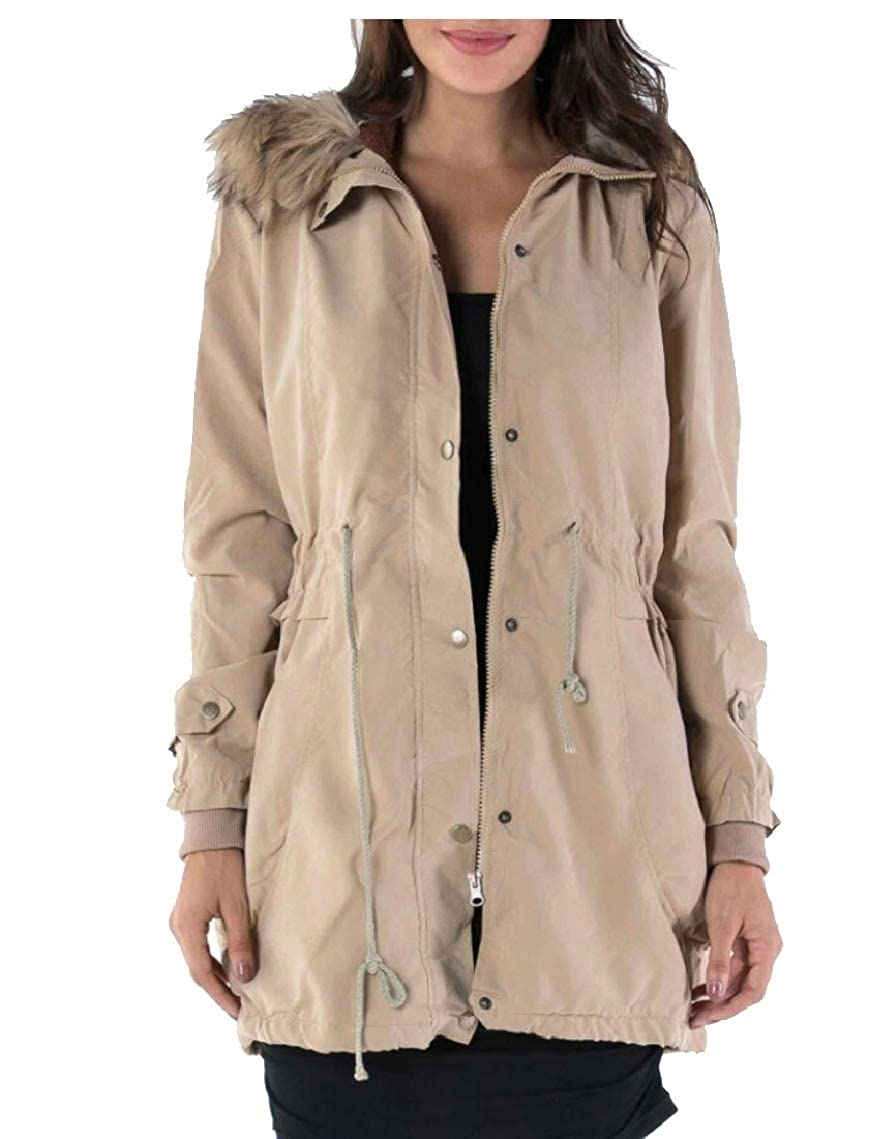Womens Military Hooded Warm Winter Thick Jacket with Faux Fur Lined Loveinus