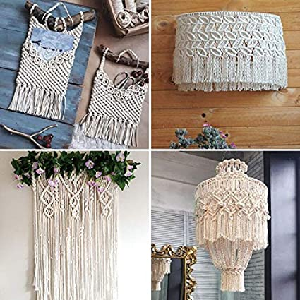 Soft Undyed Cotton Rope Crafts 3 Strand Twisted Cotton Cord for Wall Hanging Decorative Projects Natural Cotton Macrame Rope Plant Hangers Knitting SUNTQ Macrame Cord 3mm x 240Yards