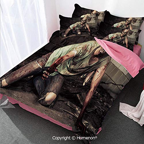 Homenon Zombie Decor Girl's Room Cover Set Full Size,Halloween Scary Dead Man in Old Building with Bloody Head Ni,Decorative 3 Piece Bedding Set with 2 Pillow Shams Grey Mint Peach ()