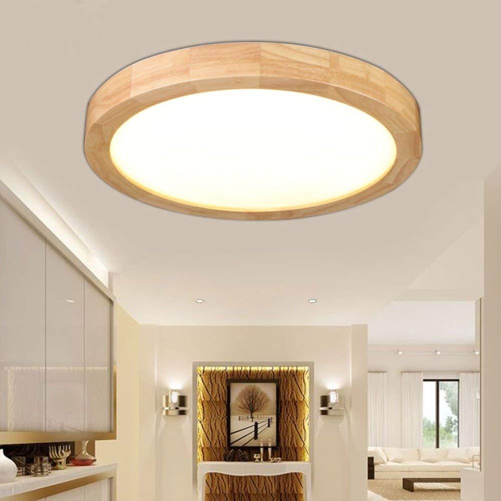 Nordic Einfache Massivholz LED Deckenleuchte kreative Holz- Schlafzimmer Wohnzimmer Esszimmer Badezimmer Balkon aus Holz Gang runde Deckenleuchten (Farbe: Weißes Licht-30cm * 30 cm * 6 cm/15 W)