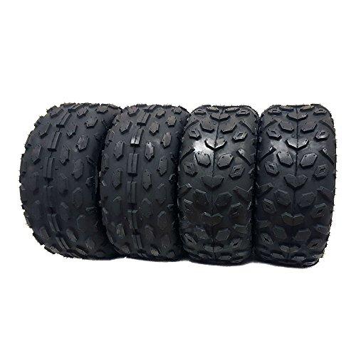 SET OF FOUR (4) ATV Tires 145/70-6, Front and Rear, UTV Go-Cart 145x70x6 (2 x FR Pattern + 2 x Rear Pattern) ()