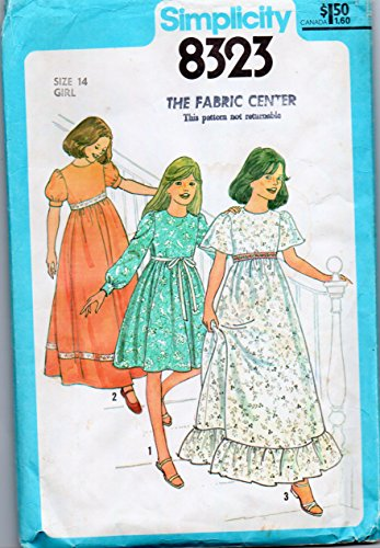 Vintage Simplicity 8323 Girls Sewing Pattern for Raised Waist Back Zip Dress in Two Lengths with Puff, Bell, or Long Cuffed Sleeves or Hem Flounce Ruffle ()