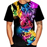 Men's Printed Color Short Sleeve T-Shirt,NDGDA 3D Flood T-Shirt Top Blouse Round Neck Tee