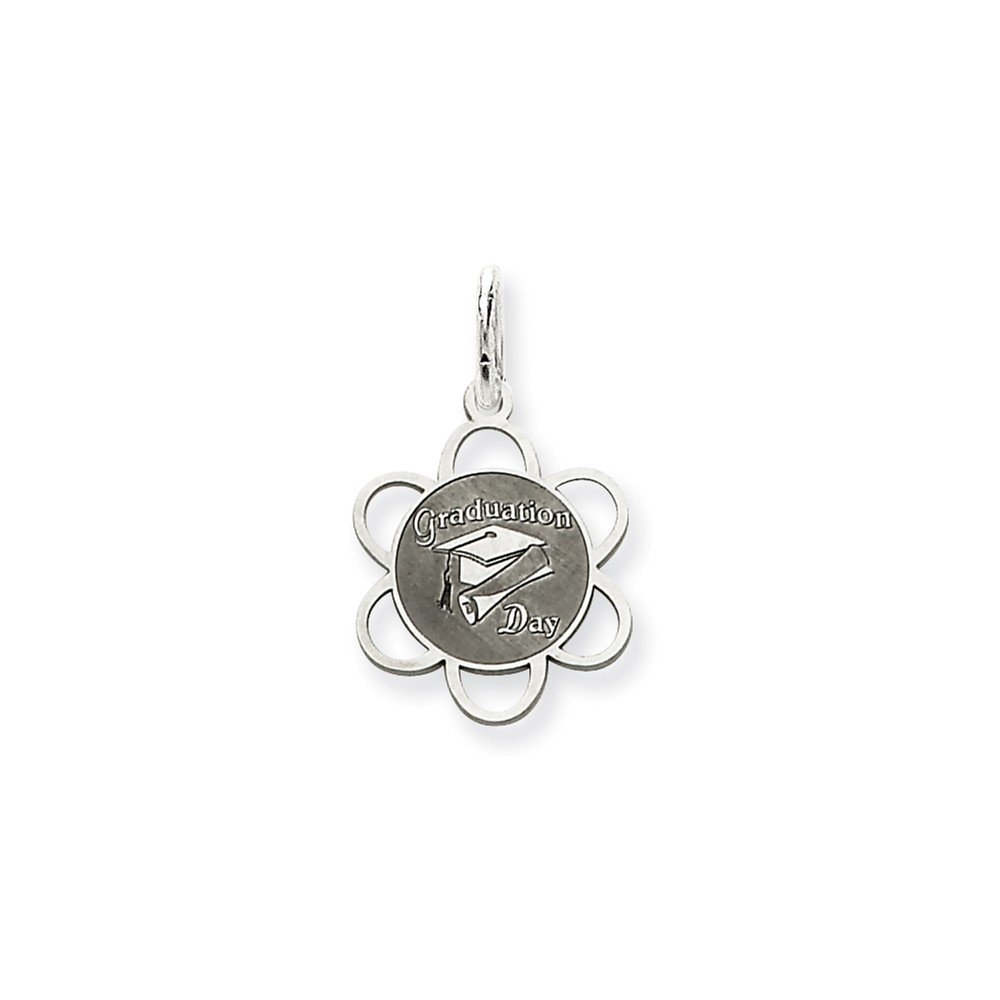 Mireval Sterling Silver Graduation Day Disc Charm (21 x 12mm)