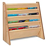 Fineway. 4 Tier Kids Book Storage Rack Wooden Sling Bookshelf Childrens Bookcase Shelves – With Soft Nylon Fabric – Ideal Story Books Organiser For Your Little ones - Natural Colour