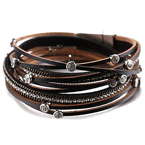 TILLY ANDERSON Multilayer Leather Bracelets for Women Fashion Boho Crystal Beads Charm Bracelet Statement - Anderson Bracelets Jewelry