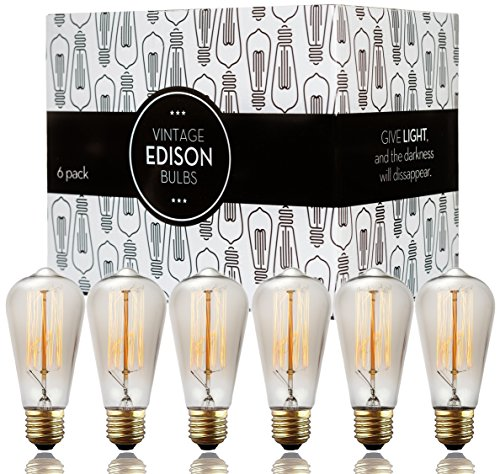 Edison bulbs – Scandic Gear – 6 pack of 60 watt Filament Vintage Antique Style Incandescent Light bulb with Squirrel Cage Design – E26 E27 ST64 Dimmable for Chandeliers Pendant Lighting Wall Sconces